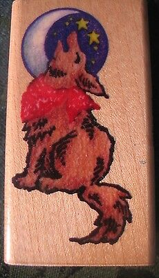 "RUBBER STAMP  Howling Coyote #l026 wood block ~2 1/2"" x 1 1/2""  Stampendous 1994"