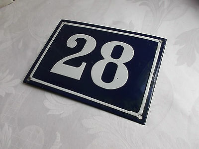 "French authentic - vintage sign number"" 28 "" blue & white porcelain enamel"