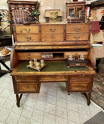 Antique French Fruitwood Rolltop/Cylinder Bureau Desk