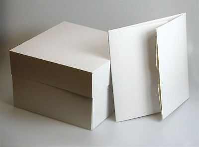 White Cake boxes 12x12x6 inches with removable Lid Pack of 10 with free Trays