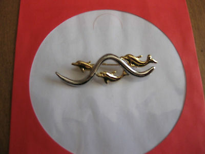 Fashion Jewellery Brooch Swimming Dolphins Two Tone