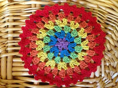 Lovely Colourful Cotton Hand Crochet Lace Doily Round 12cm--Red