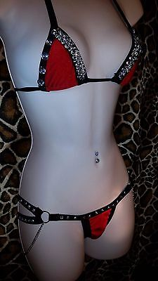 STRIPPER OUTFIT,Black & Red  Crystals 2 strap Thong Triangle Top Custom Made