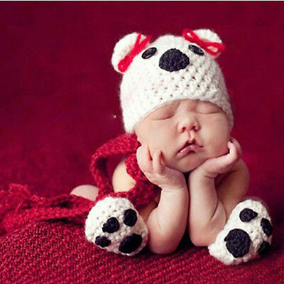 Newborn Baby Girl Boy Crochet Knit Costume Photo Photography Prop Outfits Bear