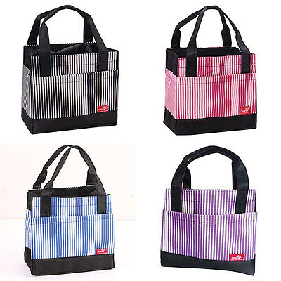 Kawaii Stripe Insulated Thermal Tote Outdoor Travel Picnic Storage Lunch Bag