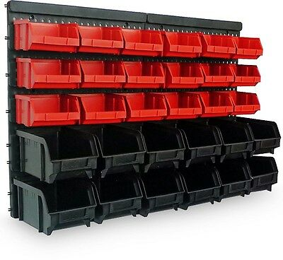 Garage Storage Bin 32PC Large Kit Wall Mount Stackable Boxes Tools Box Organizer