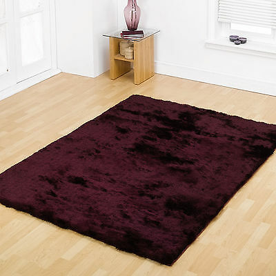 Extra-X-Large-Med-Small Thick Silky Soft Shiny Thin Strand Shaggy Plum Gloss Rug