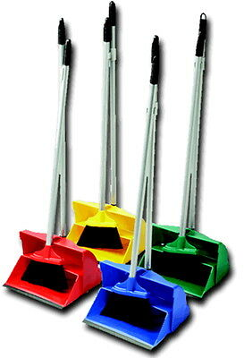 Industrial Colour Coded Hygienic Long Handled Dust Pan Brush Set Lobby Cleaning