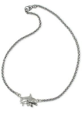 Handmade Solid Sterling Silver Dolphin And Baby Ankle Bracelet Jewelry DPH1-A