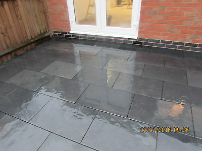 Natural  Black Slate Paving Garden Patio Slabs 10m2 600x400mm 15 mmThick