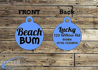 Funny Pet Tags Dog ID Beach Bum Personalized Custom Pet Charm tag ID