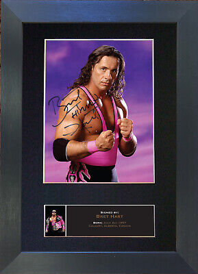 BRET THE HITMAN HART Signed Mounted Autograph Photo Prints A4 544