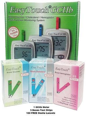 Easy Touch GCHb Blood Glucose Cholesterol Hemoglobin Monitoring Tool Test Strips