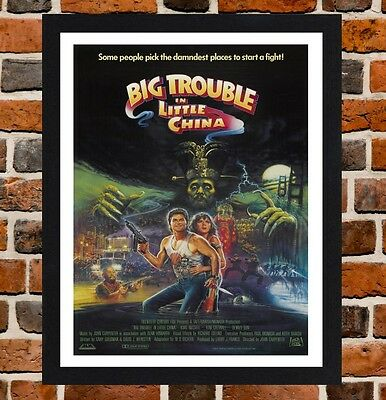 Framed Big Trouble In Little China Movie Poster A4 / A3 Size In Black Frame .