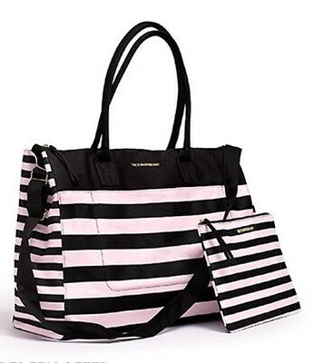 Victoria's Secret Getaway Weekender Tote Bag Pink/black 2016 Nwt