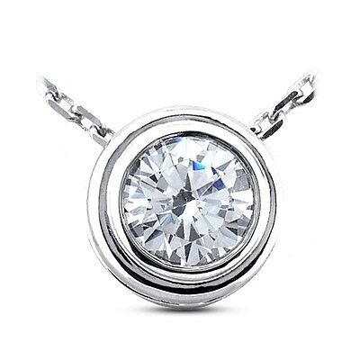 1.29ct G-SI1 Ideal Round Certified Diamond 14k Gold Bezel Solitaire Pendant 11mm