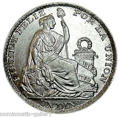 PERU DINERO 1903-JF BU Silver = SEATED LIBERTY =
