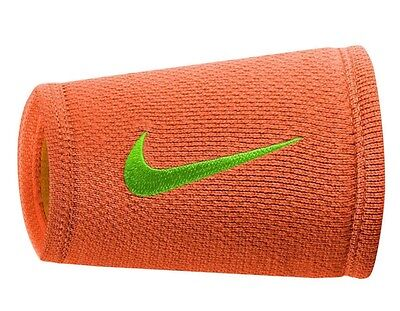 Nike - Federer Dri-Fit Double Wide Stealth Wristbands WTP Tour Orange Free Ship
