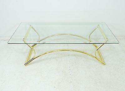 Vintage Mid Century Modern Hollywood Regency Brass Frame Glass Top Coffee Table