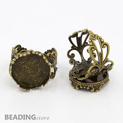 5pcs Antique Bronze Tone Filigree Brass Ring Findings fit 15mm Cabochons Craft