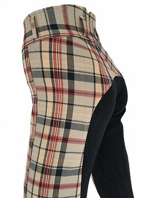 Ladies Tartan Breeches Womens Checked Jodhpurs,Full Seat Suede Sizes 8,16 only