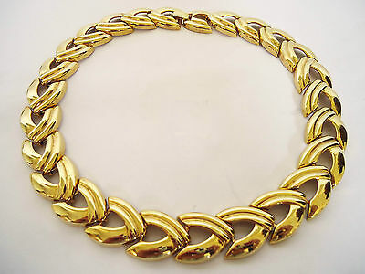 Vintage 1980's Chunky Chain Gold Tone Collar Necklace