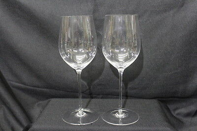 """Rare Pair of Riedel Crystal 12 3/4"""" Red Wine Glasses, Etched on Base 48 oz."""