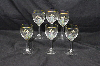 6 Spode CHRISTMAS TREE 12 oz. Glass Water/Wine Glasses w/Gold Trim EXCELLENT!