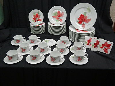 Service for 12 - 62 Pc Set Block Spal Fine China POINSETTIA by Mary Lan Goertzen