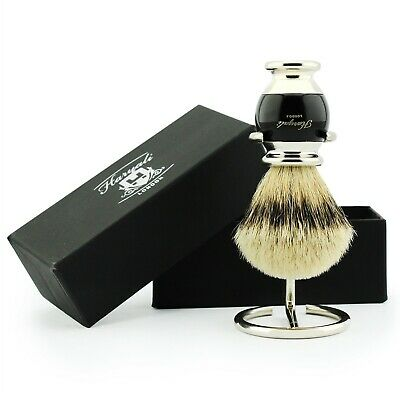 Men's Shaving Pure Black Badger Hair Shaving Brush,+ Free Brush Holder/Stand