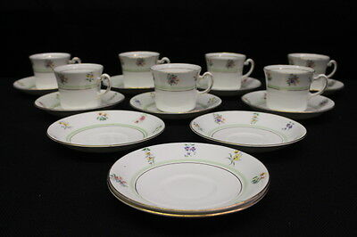 18 Pc Royal Vale Fine Bone China Floral Cups & Saucers w/Green Band & Gold Trim