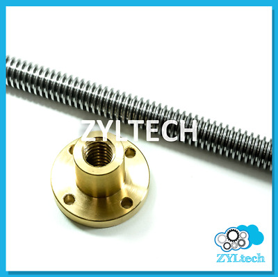 "1/2-10 single start ACME Threaded Rod Lead Screw w/ Brass Nut 12"" 24"" 36"" 48"""