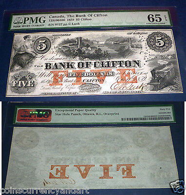 BANK OF CLIFTON , CANADA BANKNOTE, 1859 $5 PMG 65 EPQ (exeptional Paper Quality)