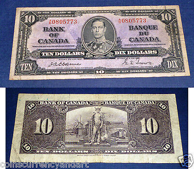 OSBORNE/ TOWERS CANADA BANKNOTE , Bank of Canada $10 1937