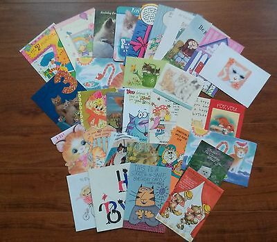 32 Vintage Greeting Cards--Cats--Scrapbooking, Collage, Card-Making