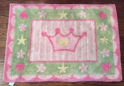 """Lambs and Ivy Pink Princess Rug Crown Baby Girl Toddler 40"""" x 29"""" Clean Green"""