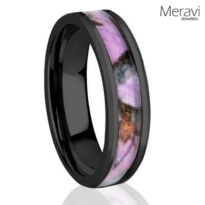 6mm Titanium Black Real Oak Pink Tree Camo Ring Womens Mossy Forest Wedding Band