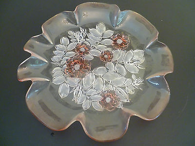 large round vintage glass platter / cake plate