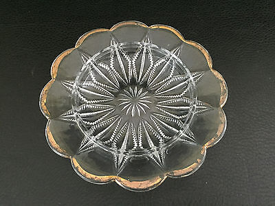 Antique pressed glass butter dish bottom 1880's 1890's Zippered  Diamond