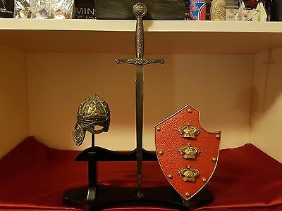 Miniature Shield, Helmet And Sword Letter Openers with Display Stand - NIB