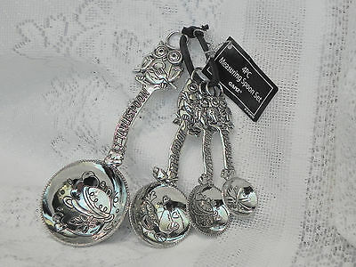 """Owl"" measuring spoons stainless steel al regular size front & back decorated"