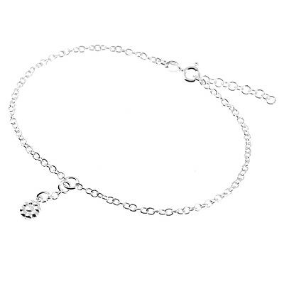 "Solid 925 Sterling Silver 9""-10"" 2.4mm Trace Chain & Flower Anklet (Ankle/Foot)"