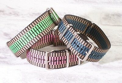 Peacock woven heavyweight thick military nylon NATO watch strap Blue Green Pink