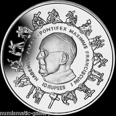 SEYCHELLES 10 RUPEES 2013 Silver PF = ELECTION OF POPE FRANCIS I =