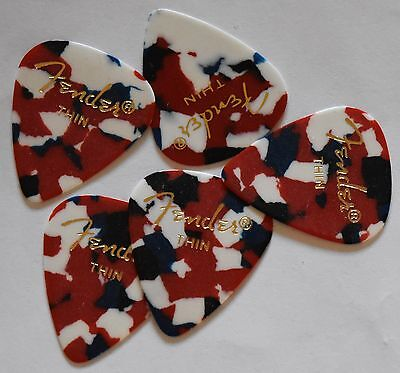 Fender Guitar Picks Confetti 351 style 5 Picks Thin,Medium,Heavy or Extra heavy