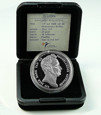 NETHERLANDS ANTILLES 25 GULDEN 2003 Silver PF 175 YEARS OF THE BANK Box/Coa