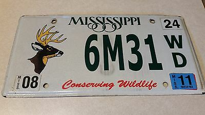 2011 6M31 WD Conserving Wildlife Mississippi License Plate