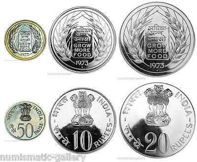 INDIA 3-COIN SET 1973 UNC/BU = GROW MORE FOOD = F.A.O including 2 Large Silver
