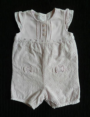 Baby clothes GIRL 0-3m pink broderie anglaise dress-style romper cotton-lined
