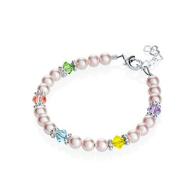 Pink Pearls with Colorful Crystals and Sterling Silver Daisy Spacers Bracelet